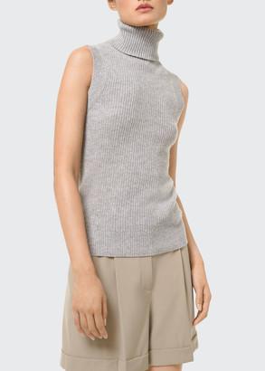Michael Kors Collection Solid Wool Rib-Knit Sleeveless Turtleneck Sweater