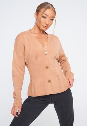 Missguided Stone Cinched Waist Knitted Cardigan