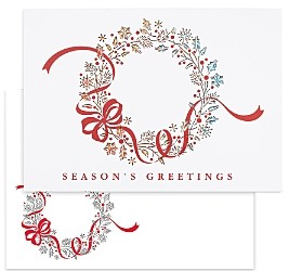 MASTERPIECE Wreath Laser Cut Holiday Cards Set of 12