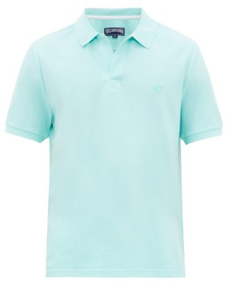 Vilebrequin Turtle-embroidered Cotton-pique Polo Shirt - Mens - Blue