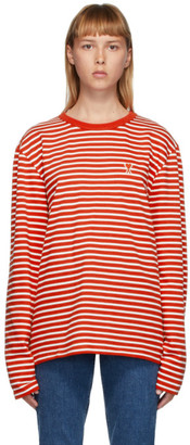 Ami Alexandre Mattiussi Red and White Ami De Coeur Mariniere Long Sleeve T-Shirt