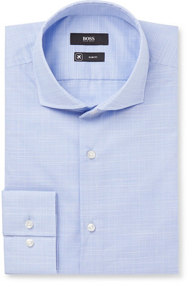 HUGO BOSS Blue Jason Slim-Fit Cutaway Collar Prince Of Wales Checked Cotton Shirt