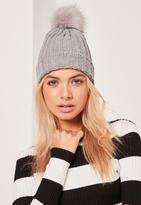 Missguided Metallic Knit Faux Fur Pom Pom Beanie Hat Grey