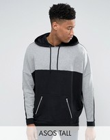 Asos Tall Extreme Oversized Longline Hoodie With Cut & Sew