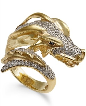 Macy's Diamond Dragon Bypass Ring (1 ct. t.w.) in 14k Gold-Plated Sterling Silver