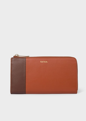Paul Smith Women's Large Brown Colour-Block 'Concertina' Leather Zip-Around Wallet