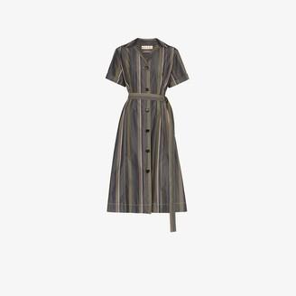Marni Striped Cotton Midi Dress