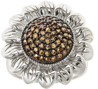 Affinity Diamond Jewelry Affinity 5/8 cttw Champagne Diamond Flower Ring, Sterling