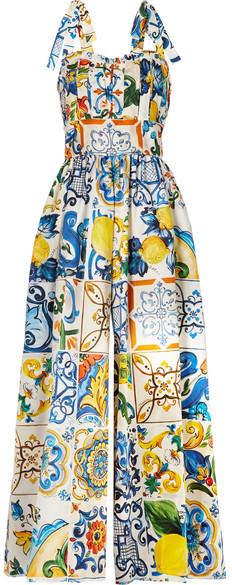 Dolce & Gabbana Pleated Printed Cotton-poplin Jumpsuit - Blue