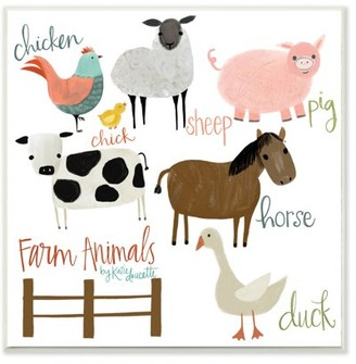The Kids Room By Stupell Cow Pig Sheep Horse Chicken and Duck Farm Animal Illustrations with Hand Lettering Wall Plaque Art, 12 x 12