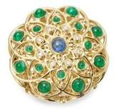 Temple St. Clair Diamond, Emerald, Ruby, Sapphire and 18K Yellow Gold Mosaic Brooch