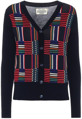 Tory Sport Checked wool-jacquard cardigan