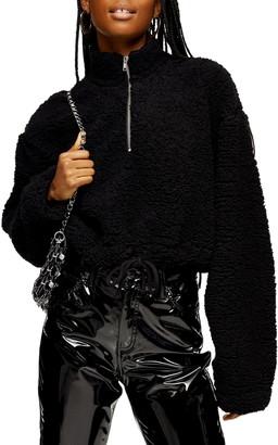Topshop Half Zip Fleece Pullover