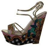 Just Cavalli Satin Wedge Sandals