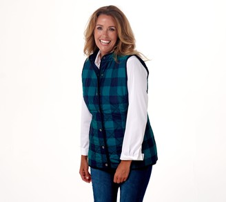 Isaac Mizrahi Live! Buffalo Plaid Printed Quilted Vest