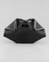 Alexander McQueen De-Manta Honeycomb Clutch Bag, Black