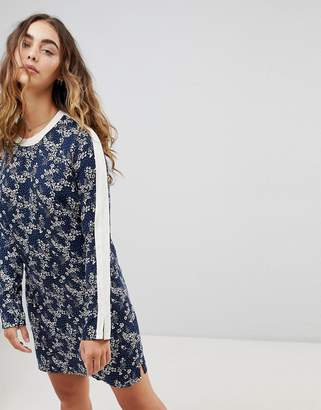 Pepe Jeans Stefi Ditsy Floral Print Shift Dress-Navy