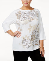 Karen Scott Plus Size Floral-Print Embellished Top, Only at Macy's
