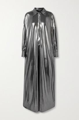 Norma Kamali Metallic Stretch-jersey Jumpsuit - Gunmetal