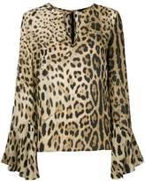 Class Roberto Cavalli flared sleeved leopard blouse