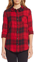 Westbound Long Sleeve Mixed Media Plaid Button-Front Shirt