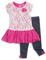 Nannette Girls 2-6x Lace-Trimmed Dress and Leggings Set