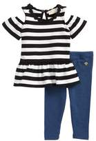Kate Spade stripe peplum top & leggings set