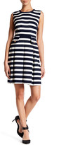 Adrianna Papell Striped Fit & Flare Dress (Petite)