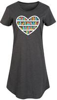 Instant Message Women's Women's Tee Shirt Dresses HEATHER - Heather Charcoal Heart Book Shelf Short-Sleeve Dress - Women & Plus