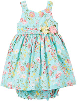 Laura Ashley Turquoise & Pink Floral Dress - Girls