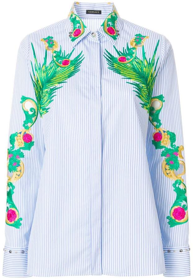 Versace embroidered striped shirt