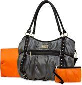 Wendy Bellissimo Wendy BellissimoTM Tamale Studded Tote Diaper Bag in Grey/Orange