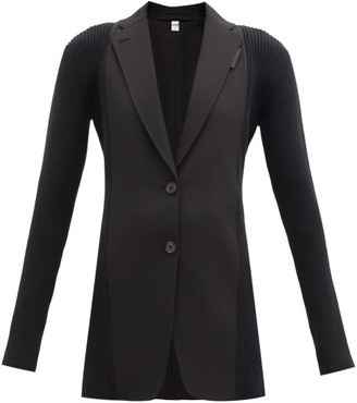 Burberry Single-breasted Ribbed-panel Wool Jacket - Black
