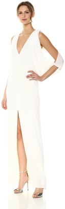 Halston Women's Cape Sleeve Deep V Neck Open Back Gown