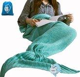 "LAGHCAT All Seasons Mermaid Tail Blanket Knit Crochet and Cool color Mermaid Blanket for Adult,Sleeping Blankets (71""x35.5"", vivid green)"