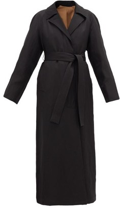 Lemaire Raglan-sleeve Wool-blend Twill Coat - Black