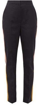 Roksanda Colwyn Satin-trimmed Wool-twill Tailored Trousers - Navy