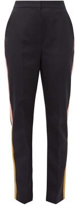 Roksanda Colwyn Satin Trimmed Wool Twill Tailored Trousers - Womens - Navy