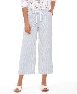 Style&Co. Style & Co Striped Linen Cropped Pants, Created for Macy's