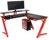 Bronx Amold L-Shape Desk with Hutch Ivy Color: Carbon Black/Red Matte