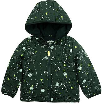 Osh Kosh Boys' Puffer Coats BLACK - Black Planet Glow in the Dark Light Puffer Coat - Infant & Toddler