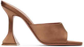 Amina Muaddi SSENSE Exclusive Brown Lupita Slipper Heels