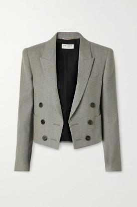 Saint Laurent Spencer Cropped Wool-twill Blazer - Gray