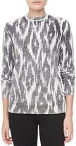 Michael Kors Ikat-Print Cashmere Top, Black/White