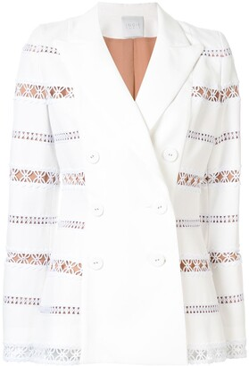 Ingie Paris Embroidered Double-Breasted Blazer