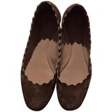 Chloé Suede brown scallop flats