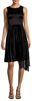 Karen Millen Pleated And Patchwork Lace Dress