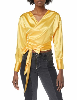 NEON COCO Women's Long Sleeve Satin Silk Wrap Cropped Blouse T-Shirt