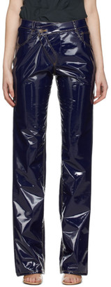 Ottolinger Navy Faux-Leather Diagonal Trousers