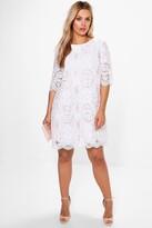 boohoo Plus Abbi All Over Lace Shift Dress white
